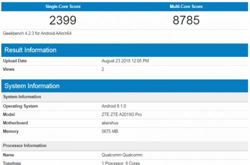 Смартфон ZTE Axon 9 Pro показал впечатляющие результаты в бенчмарке