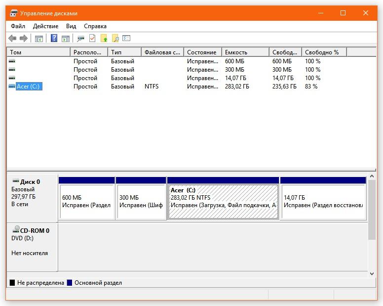 управление дисками Windows 10
