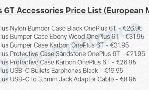 Опубликован перечень официальных аксессуаров для смартфона OnePlus 6T