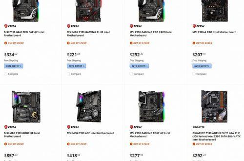 Канадский сайт Newegg «засветил» цены системных плат на чипсете Z390