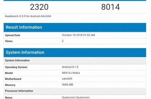 Смартфон ZTE Nubia NX616J на платформе Snapdragon 845 замечен в базе Geekbench
