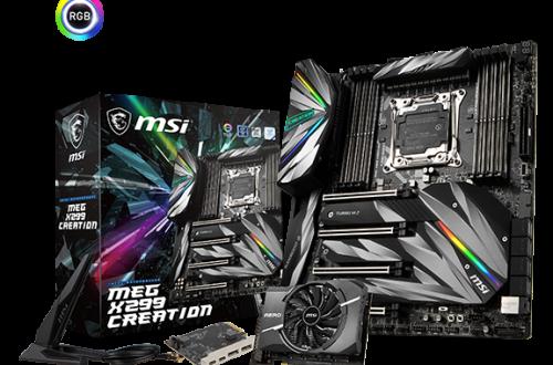 Системная плата MSI X299 MEG Creation комплектуется двумя картами расширения