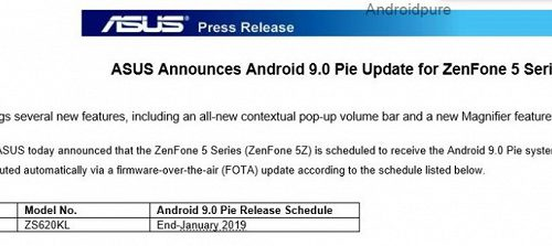 Asus обещает выпустить ОС Android 9.0 для смартфона Zenfone 5Z в конце января 2019 года