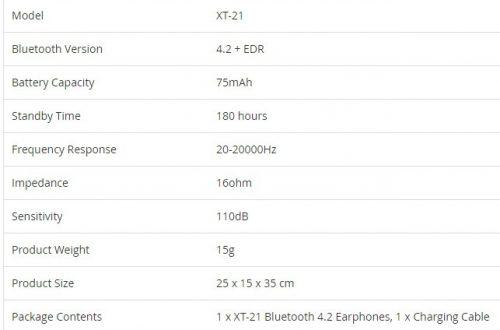 XT-21 Bluetooth 4.2 Headset Dual Driver . Беспроводная гарнитура с двумя динамическими излучателями