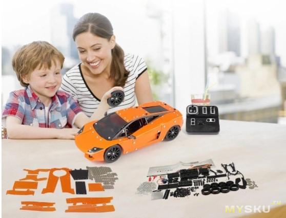 Металлический конструктор – гоночная машинка с р/у (пульт, приемник, сервомашинка в комплекте)