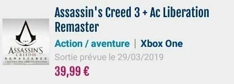 Ремастеры Assassin's Creed 3 и Liberation выйдут 29 марта