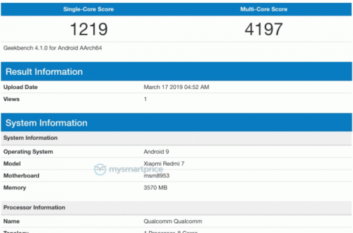 Основные характеристики смартфона Redmi 7 подтверждены за сутки до анонса
