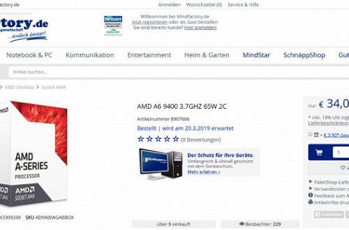 Два ядра частотой 3,7 ГГц и встроенный GPU Radeon R5 за $35: в продаже замечен новый APU AMD A6-9400