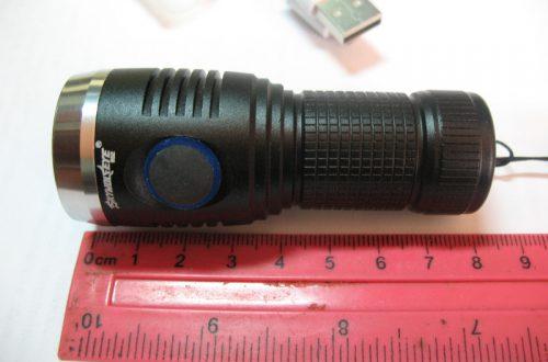 фонарик на 18350. с акком, зарядкой и боковой кнопкой за 5,99( брал за 4,99)