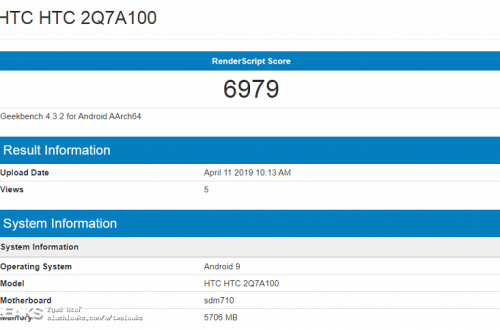 Смартфон HTC с SoC Snapdragon 710 и 6 ГБ ОЗУ протестирован перед анонсом