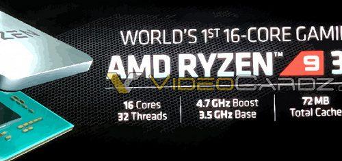 Появились подробности о 16–ядерном процессоре AMD Ryzen 9 3950X