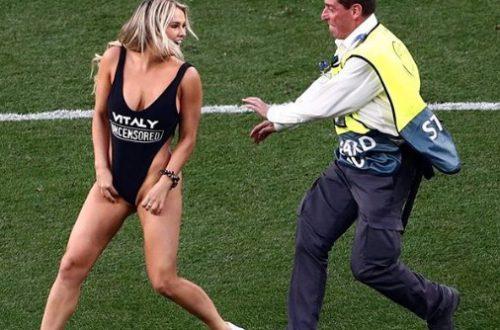 По заказу безумного русского: Американская модель в бикини прервала финал Лиги чемпионов в Мадриде