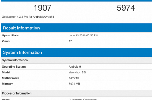 Новинка Vivo на базе Snapdragon 710 показала возможности в Geekbench