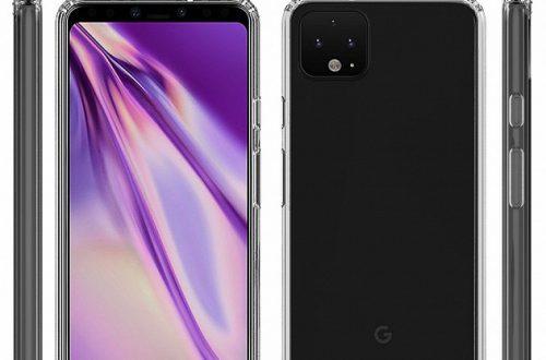 Смартфон Google Pixel 4 XL в прозрачном чехле показан со всех сторон