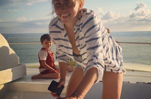 Полина Диброва показалась топлес на отдыхе с сыновьями