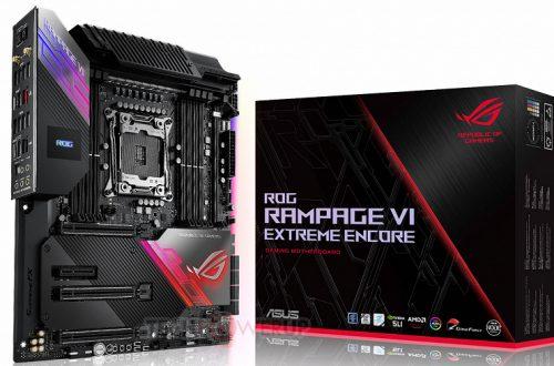 Системная плата Asus ROG Rampage VI Extreme Encore типоразмера EATX рассчитана на процессоры в исполнении LGA 2066