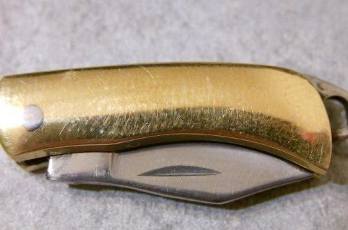 Складной нож с латунной рукоятью