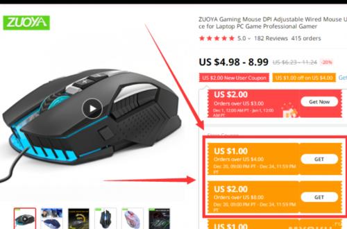 Купоны 1$/4$ и 2$/8$ на покупку компьютерных мышей Zuoya от 3.92$