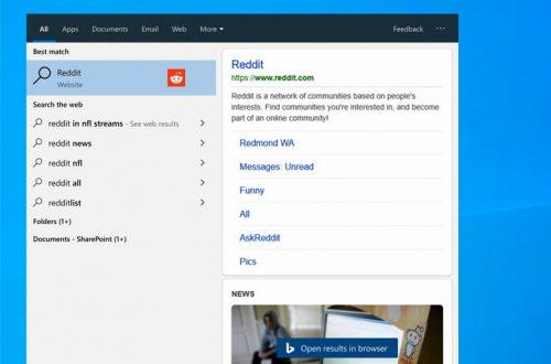 Теперь поисковая панель Windows 10 — это полноценный мини-браузер