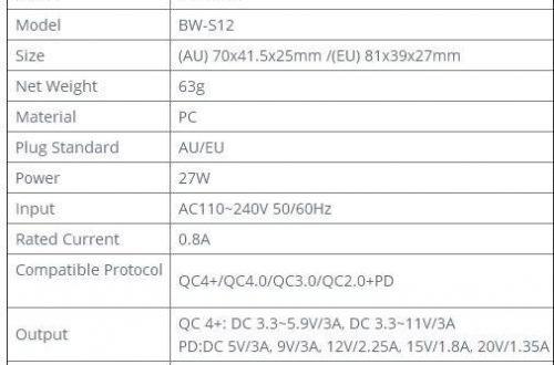 Зарядное устройство BlitzWolf BW-S12 на 27 Вт c портом Type-C и QC 4.0/PD + кабель USB-C на USB-C. $11.99