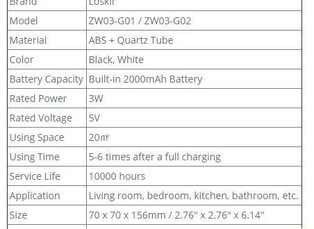 Портативный УФ кварцевый стерилизатор-озонатор с Li аккумулятором 2000мАч и USB зарядкой $17.99