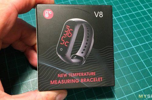 Браслет V8: просто часы с датчиком температуры