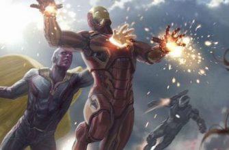Вижен протыкает рукой Железного человека на арте фильма Marvel